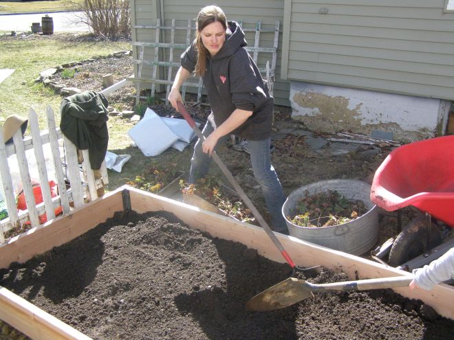 step 3:add your own kitchen compost, dried cow manure, peat moss & top soil all while getting a workout